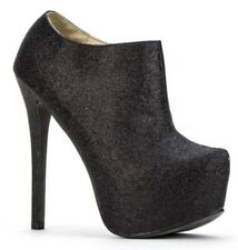 Womens Ladies Black Glitter High Heel Party Shoes Ankle Boots Size UK 7 New