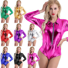 Women PVC Leather Zipper Babydoll Leotard Bodysuit Jumpsuit Catsuit Clubwear