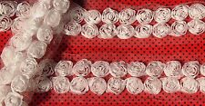 1m White or Floral petite shabby chiffon double rose flower trim - for craft.