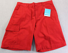 COLUMBIA RED BLUFF Mens Red 100% Cotton Twill Cargo Shorts  NWT Size  34  $45