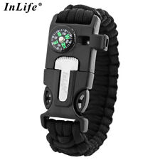 Inlife 5 In 1 Survival Tool With Whistle Flint Compass Survival Bracelet