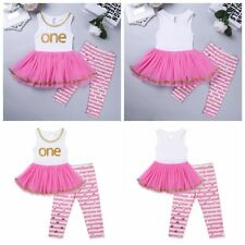 Infant Baby Girls Outfit Dress Sleeveless Mesh Top Dress + Striped Pants Set