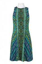 Maggy London Crew Neck Sleeveless Zipper Back Multi Print Jersey Dress Blue