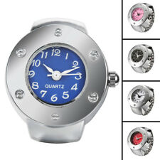 Fashion Dial Metal Silver Alloy Womens Rhinestone Finger Ring Watch Jewelry Gift