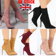 UK Womens Knight Ankle Boots High Stiletto Heels Zipper Up Party Club Shoes Size