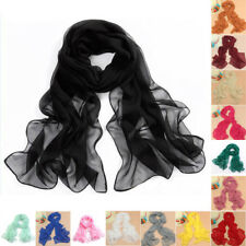 Women's Girl Soft Candy Colors Long Crinkle Scarf Wrap Voile Wraps Stole Shawl