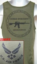 AIR FORCE TANK TOP/ AFGHANISTAN COMBAT OPS/ T-SHIRT/ OD GREEN/ MILITARY/  NEW