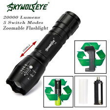 20000LM XM-L T6 5Mode Zoomable LED Flashlight & 18650Battery+Charger Torch Lamp_