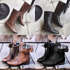 Womens PU Leather Martin Shoe Mid Calf Boots Lace Up Zip Military Boots Shoes