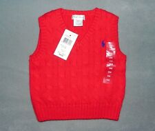 NWT Infant Baby Boy RALPH LAUREN Red Cable Knit Cotton Sweater Vest 24 Months