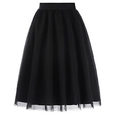 Women's 3 Layers Soft Tulle Netting Prom Party Wedding Black Skirt Petticoat
