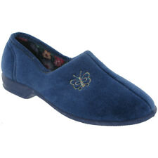 Mirak Ladies Bouquet Soft Textile Butterfly Detail Slipper Royal
