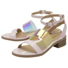 LADIES DOLCIS BEATRIX PINK BLOCK HEEL ANKLE PEEP-TOE SANDALS STRAPPY SHOES 4-7