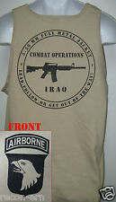 101ST AIRBORNE TANK TOP/ T-SHIRT/ IRAQ COMBAT OPS/ MILITARY TAN / ARMY / NEW