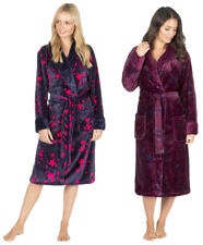 Ladies Womens Soft Flannel Fleece Plush Star Dressing Gown Robe Navy Blue Maroon
