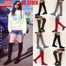 US Women Over the Knee Boots Stretch Low Heel Zip Lace Up Slim Winter Shoes Size