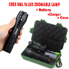 15000LM  XM-L T6 LED Zoomable Flashlight Torch Lamp Light+Battery+Charger+Case V