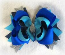 Electric Blue Triple Layer Boutique Bow for Girls baby Headband stacked BTS Bow