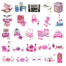 Dollhouse Kitchen/Living Room/Bedroom Furniture for Barbie Dolls Pretend Play