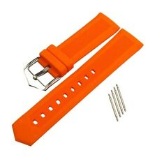 Waterproof Silicone Rubber Watch Strap Band Stainless Steel Buckle Spring Bar