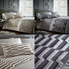 Murray Luxury Velvet Panel Duvet/Quilt Cover Set Bedding Range Oyster/Stone