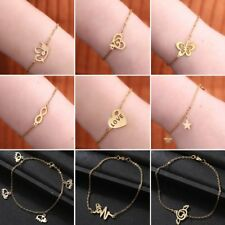 Stainless Steel Butterfly Love Heart Chain Bracelet Bangle Jewelry Family Gift