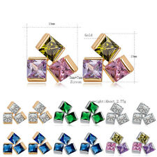 Fashion Womens 3-Cube Crystal Yellow Gold Filled Stud Earrings Earings Jewelry