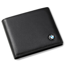 BMW Genuine Leather Bifold Black Wallet Men Gift with 3 Credit Card & ID Window