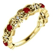 14k Yellow Gold Ruby and Diamond Vintage Design Scroll Ring Size 7