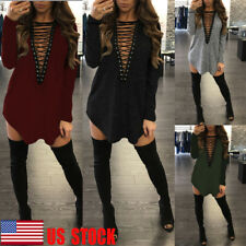 Womens Lace Up Deep V Bandage Loose Mini Dress Cocktail T-Shirt Long Tops Blouse