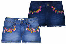 Girls New Embroidery Denim Shorts Kids Summer Jeans 100% Cotton Age 3 - 14 Years
