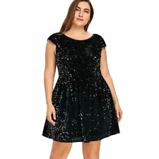 Women Black Color Plus Size Low Back Short Sleeves Backless Club Party Dress