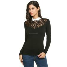 Women Peter Pan Collar Floral Lace Long Sleeve Slim Fit Blouse Tops C5 03