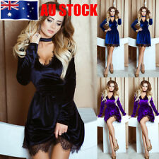 AU Womens Choker Neck Velvet Lace Sexy Fitted Mini Short Dress Party Clubwear