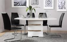 Komoro & Pica High Gloss Dining Room Table and 4 6 Chairs Set - Black