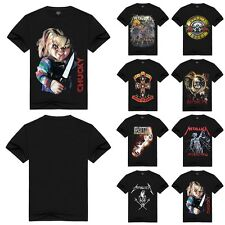 Mens 3D Print Skull Punisher T-shirt Gothic Punk Rock Band Casual Summer Top Tee