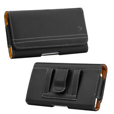 Luxmo Leather Belt Clip Pouch Holster Phone Holder Horizontal #20 Black Tan