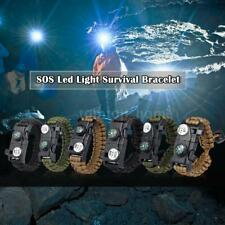 Outdoor Survival Bracelet Paracord SOS LED Light Whistle Fire Starter Gear H8W5