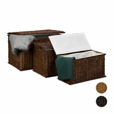 Set of 3 Buri Chests Storage Baskets 71L Stackable Storage Chests Laundry Basket