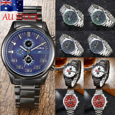 AU Men Stainless Steel Analog Military Wrist Watch Date Display Business Watches