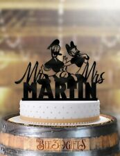 Personalized Donald and Daisy Mr Mrs with Name Wedding Cake Topper