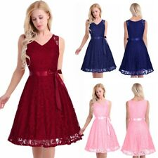 Women's Vintage Lace V Neck Sleeveless Bridesmaid Evening Dress party Cocktail