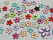 500 Shiny Flatback Acrylic Faceted Flower Rhinestone Gems 10mm Color For Choice