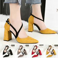 Suede Stilettos High Heels Pointed Toe Fashion Shallow Ladies Block Pumps Shoes