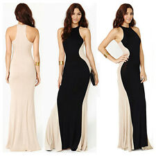 Sexy Women's 2 Tone Strapless Party Evening Cocktail Ball Gown Long Maxi Dress
