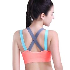 HeartFor Racerback Sports Bras For Women - Padded High Impact Workout,Pack Of 2