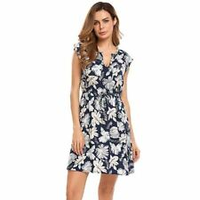 Women New Style Floral Printed A-line V-neck Casual Summer Wear Dress