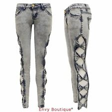 Womens Ladies Side Bow Cutout Low Rise Acid Wash Stretch Skinny Jeans Jeggings