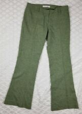 Susana Monaco / Anthropologie Wool Green Pant Metal Buckles on back Pockets Sz 4