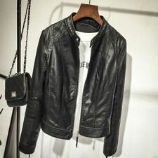 Autumn Fashion Zipper O-Neck Solid Color Washed PU Leather Jacket For Women